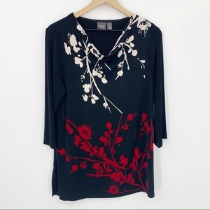 Chico's Travelers Floral Draped Neck Tunic Top 1